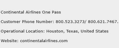 Continental Airlines One Pass Phone Number Customer Service