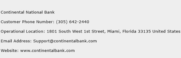 Continental National Bank Phone Number Customer Service