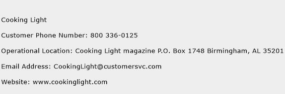 Cooking Light Phone Number Customer Service