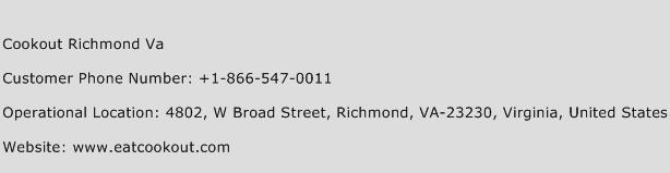 Cookout Richmond Va Phone Number Customer Service
