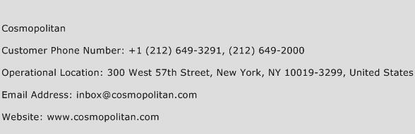 Cosmopolitan Phone Number Customer Service