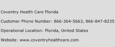 Coventry Health Care Florida Phone Number Customer Service