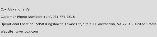 Cox Alexandria Va Phone Number Customer Service