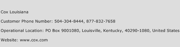 Cox Louisiana Phone Number Customer Service