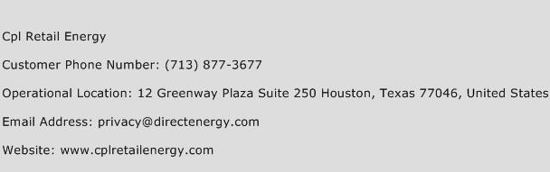 Cpl Retail Energy Phone Number Customer Service