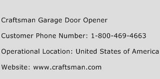 Craftsman Garage Door Opener Phone Number Customer Service