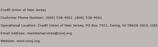 Credit Union of New Jersey Phone Number Customer Service