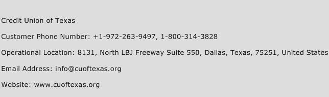 Credit Union of Texas Phone Number Customer Service