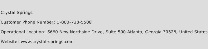 Crystal Springs Phone Number Customer Service