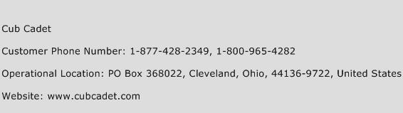 Cub Cadet Phone Number Customer Service