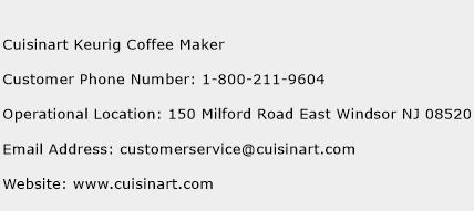 Cuisinart Keurig Coffee Maker Phone Number Customer Service
