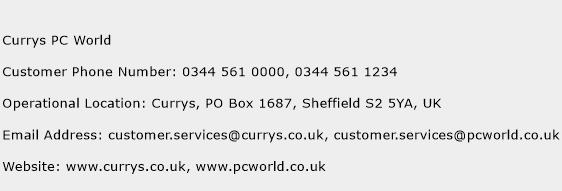 Currys PC World Phone Number Customer Service