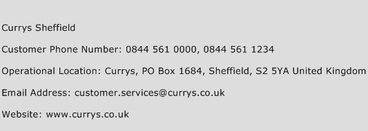 Currys Sheffield Phone Number Customer Service