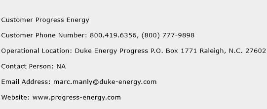 Customer Progress Energy Phone Number Customer Service