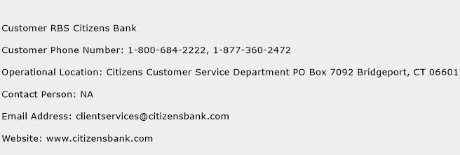 Customer RBS Citizens Bank Phone Number Customer Service