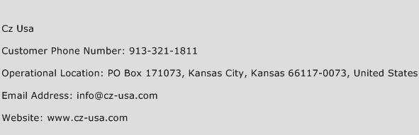 Cz USA Phone Number Customer Service