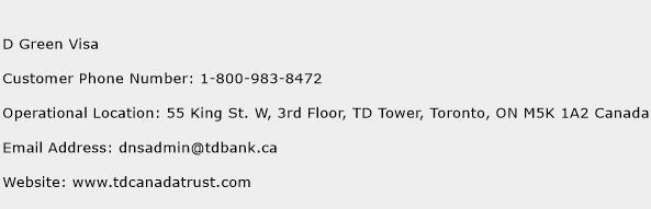 D Green Visa Phone Number Customer Service