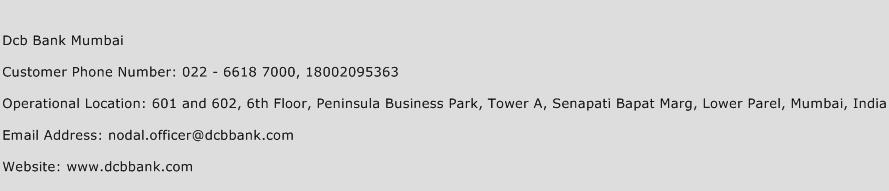 DCB Bank Mumbai Phone Number Customer Service