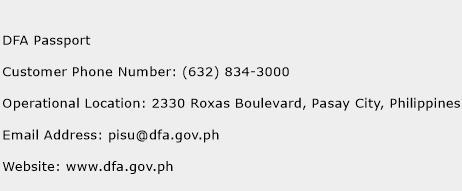 DFA Passport Phone Number Customer Service