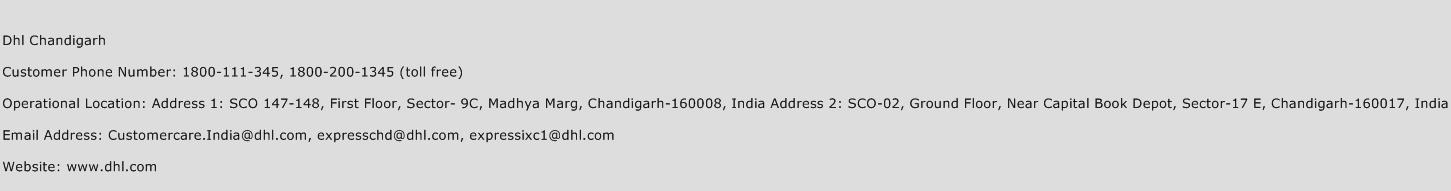 DHL Chandigarh Phone Number Customer Service