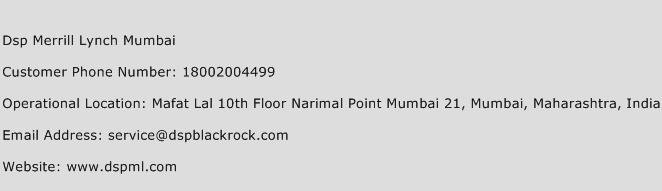 DSP Merrill Lynch Mumbai Phone Number Customer Service