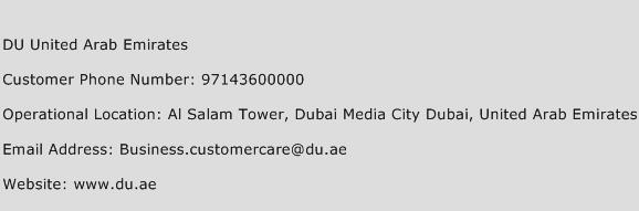 DU United Arab Emirates Phone Number Customer Service