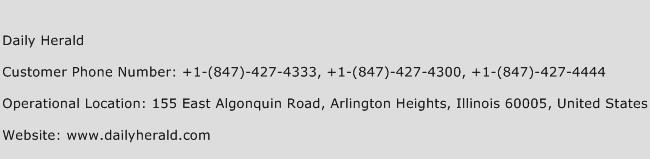 Daily Herald Phone Number Customer Service