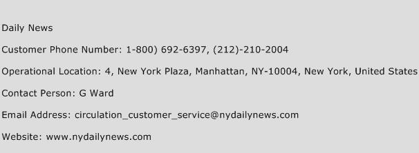 Daily News Phone Number Customer Service