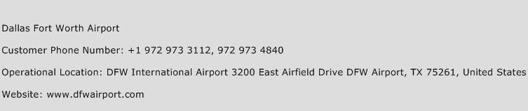 Dallas Fort Worth Airport Phone Number Customer Service
