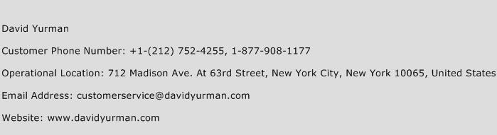 David Yurman Phone Number Customer Service