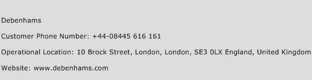 Debenhams Phone Number Customer Service