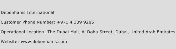 Debenhams International Phone Number Customer Service