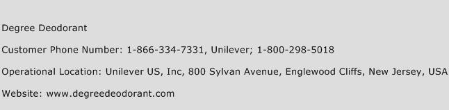 Degree Deodorant Phone Number Customer Service
