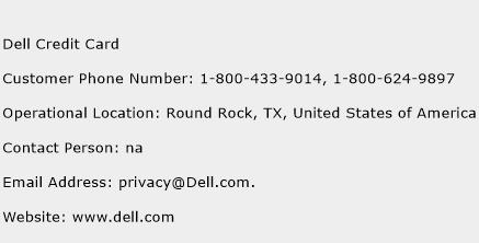 Dell Credit Card Phone Number Customer Service