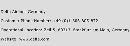 Delta Airlines Germany Phone Number Customer Service