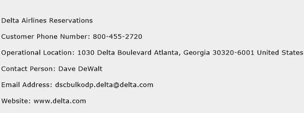 Delta Airlines Reservations Phone Number Customer Service