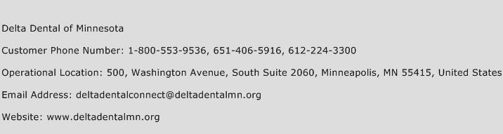 Delta Dental of Minnesota Phone Number Customer Service