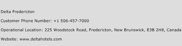 Delta Fredericton Phone Number Customer Service