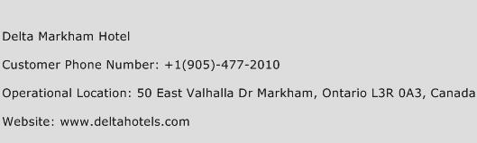 Delta Markham Hotel Phone Number Customer Service