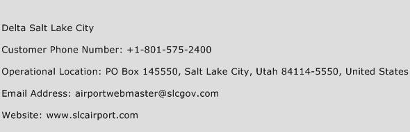 Delta Salt Lake City Phone Number Customer Service