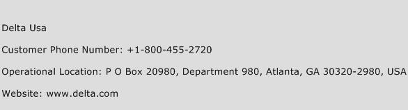 Delta Usa Phone Number Customer Service
