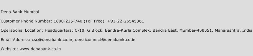 Dena Bank Mumbai Phone Number Customer Service