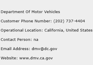 Department Of Motor Vehicles Phone Number Customer Service
