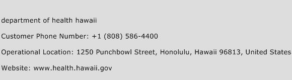 Department of Health Hawaii Phone Number Customer Service