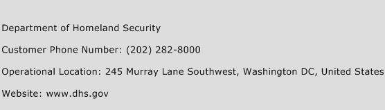 Department of Homeland Security Phone Number Customer Service