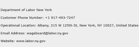 Department of Labor New York Phone Number Customer Service
