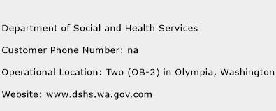 Department of Social and Health Services Phone Number Customer Service