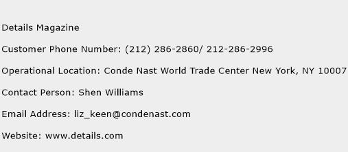 Details Magazine Phone Number Customer Service