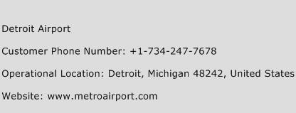 Detroit Airport Phone Number Customer Service