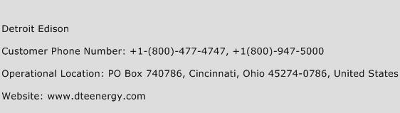 Detroit Edison Phone Number Customer Service